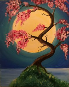 The spring time always inspires me to paint flowers.  And the unusual shape of the tree makes this painting interesting.