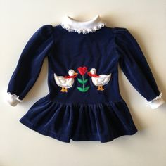 Vintage Navy Velvet Tunic with Ducks and Heart for toddler girl for sale here https://www.etsy.com/listing/493207172/vintage-navy-velvet-dress-with-ducks-and?ref=shop_home_active_4