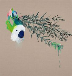 I seem to like paintings and prints of cockatoos. Miranda-The Blessed Branch - 2012 - oil acrylic and enamel on linen