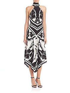 Roberto Cavalli Silk Leaf-Print Halter Midi Dress