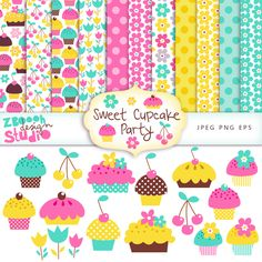 lovely set of 11    cute digital     papers, 15 cute clip art design in stylish color combination with  summer floral and cupcake   designs,  this   set can be used as   embellishments for  invitations,   cards,      stationery, scrapbooking etc.