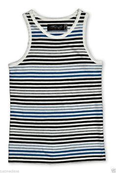 Retrofit Boy's Comfortable Striped Blue/Black/White Tank Top -  Sz M $18.00