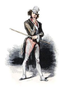 A man wearing a hat stands with a stick in one hand, looking indecisive