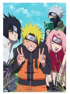 Naruto, Sakura, Sasuke & Kakashi pretending to be Kakashi perfect picture <3 lol^.^ Naruto<3