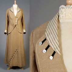 Edwardian Gowns, Biscuit Color, Bathing Costumes, Linen Suit, Duster Coat, Buttons, Couture, Suits, Jackets