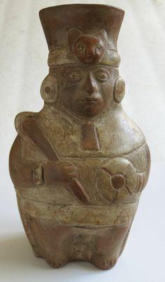 Primative Aztec Myan Inca Peru Warrior Figurine Rustic Statue Pottery Vase Cat