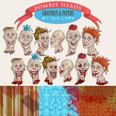 Zombie clipart set, zombies graphics Halloween Monsters, bloody background papers and walking dead Clip art, instant download commercial use