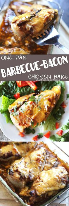 EASY BARBECUE BACON CHICKEN BAKE Recipe - The first time I made this my family gobbled it up and demanded I make again ASAP! The bacon, BBQ sauce and cheddar cheese combo is so good! We served it over rice, but this one dish casserole would be good over greens, potatoes or with traditional barbecue sides like cole slaw!