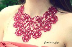 Tatting necklace decorated with swarovski by FantasieadAgo on Etsy