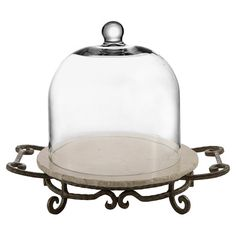 Display crackers, fruits, and cheeses on this charming server, featuring a marble platter and clear glass cloche. Cake Pedestal, The Bell Jar, Bell Jars, Dining Decor, Dining Rooms, Rustic Kitchen, Kitchen Ideas, Kitchen Time, Kitchen Supplies
