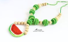 Watermelon crochet necklace, Fruit necklace, Food jewelry, Nursing necklace, Teething necklace, Organic necklace, Breastfeeding, Mama jewelry Eco friendly by Meiroadas on Etsy