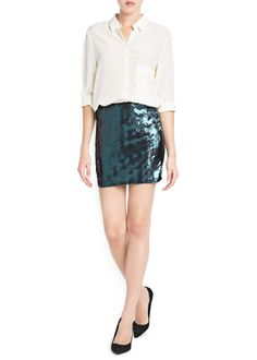 MANGO - CLOTHING - Skirts - SEQUINED MINISKIRT