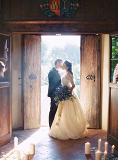 Stunning bride and groom photo in a rustic barn //  Jose Villa Photography