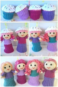 Cupcake Dolls Free Knitting Pattern The Amigurumi Baby Doll Knitting Patterns are great to knit up for whoever might love dolls. The patterns come with photos to help you along the way. Knitted Dolls Free, Knitted Doll Patterns, Crochet Dolls, Knitting Patterns Free, Crochet Patterns, Loom Patterns, Dress Patterns, Stitch Patterns, Easy Knitting
