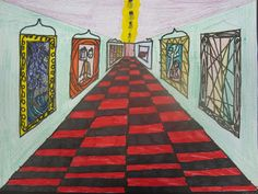 One Point Perspective Art Galleries. Photos and instructions at:  www.onceuponanartroom.com