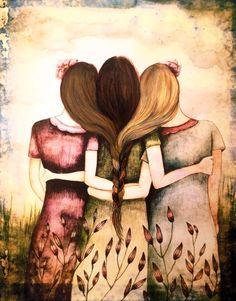 Drei Schwestern Jahrgang Kunstdruck mit Anführungszeichen oder mit heraus