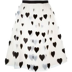 Alice+Olivia Heart Patch Tulle Skirt (€580) ❤ liked on Polyvore featuring skirts, bottoms, saia, heart skirt, white skirt, patch skirt, alice olivia skirt and knee length tulle skirt