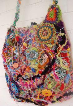Freeform crochet bag.                                                                                                                                                                                 More
