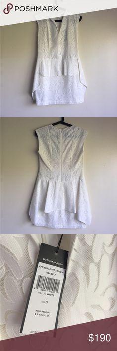 BCBG MAXAZRIA 'ISABEL' White Dress Never worn BCBG MAXAZRIA 'ISABEL' PEPLUM WHITE DRESS, Size 0, was my back up wedding dress, never tried on. BCBGMaxAzria Dresses