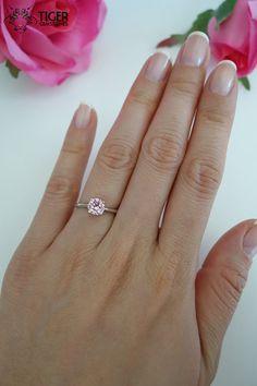 1 carat Solitaire Engagement Ring Flower 6mm Man by TigerGemstones