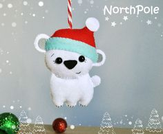 Cute Christmas Ornament felt Polar Bear cute Bear door MyMagicFelt