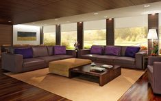 Chic Leather Couch In Living Room Designing  With Purple Pillow And Brown Rug Under The Square Coffee Table Also Dark Wooden Laminate Floor As Well Lamp Standing Beside Shades Window Wonderful Living Room Designing for Comfortable living Space living room