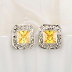 Shop Women's Yellow Silver size OS Earrings at a discounted price at Poshmark. Description: Brand New Antique Style Princess Cut Yellow CZ Earrings Yellow CZ, Silvertone. Bridesmaid Earrings, Wedding Earrings, Bridesmaid Gifts, Crystal Earrings, Crystal Jewelry, Stud Earrings, Yellow Earrings, Unique Gifts For Her, Gifts For Mum
