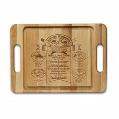 Specialty Item Barbeque Cutting Board by Snow River. $25.51. M6001950 Features: -Cutting board.-Deep juice well.-Unique hot stamp with helpful tips and guides.-Made in USA. Includes: -Includes handle. Construction: -Quality hardwood construction. Dimensions: -Overall dimensions: 21'' W x 15'' D x 0.75'' H.