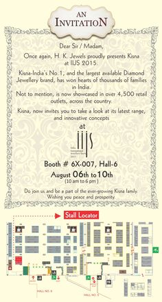 """We heartily invite all of you to """"India International Jewellery Show 2015"""" starting from 06th August, 2015. Our Booth No is 6X-007 at Hall-6, Bombay Exhibition Centre, Goregaon, Mumbai, India. http://www.kisna.com/news/india-international-jewellery-show-2015/"""