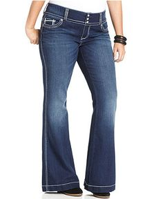 Seven7 Jeans Plus Size Jeans, Paris Embroidered Bootcut, Hunt Wash - Plus Size Jeans - Plus Sizes - Macy's
