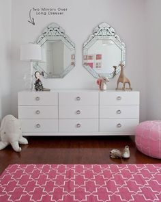 I am in love with the pink/white combo - it somehow manages to not look like a 6 year old's room...