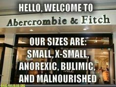 Abercrombie & Fitch Sizes