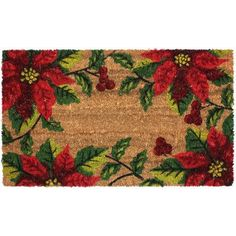 J&M Home Fashions Christmas Poinsettia Coco Doormat