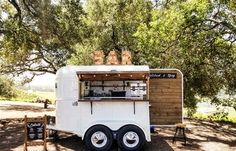 The Whiskey Chaser is a vintage horse trailer that has been converted into a mobile bar - Offering a custom craft cocktail and mixology service for weddings and events in the San Francisco Bay Area, Sonoma, Napa, and surrounding areas. Bar Catering, Mobile Bar, Farm Stand, Vans Shop, Craft Cocktails, Bartender, Beverages, Bar Ideas