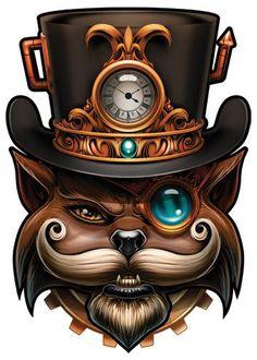 Cat Top Hat - Steampunk Temporary Tattoo
