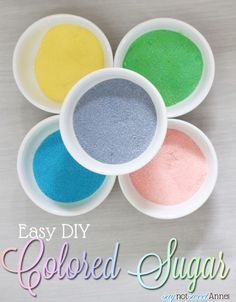 DIY Colored Sugars in less than 5 minutes! Never pay for sugar again! All you need: Plain table sugar + Food coloring (Liquid is easiest, but gel colors come in more colors) + Hand mixer + Jars for storage + Oven and shallow metal pan Cupcakes, Cake Cookies, Sugar Cookies, Cupcake Cakes, Just Desserts, Delicious Desserts, Dessert Recipes, Fancy Desserts, Health Desserts
