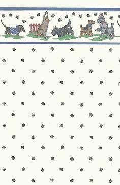 Wallpaper: Dog Lover Paws IB 90G [IB 90G] - $4.00 : Miniature Dollhouses & Doll House Supplies | Earth & Tree Miniatures & Dollhouses