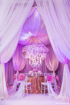 Pink wedding decoration inspiration - This opulent settings is for you especially if you love drapes and pink! Photography by: Salwa Photography Indian Wedding Decorations, Reception Decorations, Event Decor, Wedding Centerpieces, Decor Wedding, Wedding Lighting, Indian Decoration, Event Lighting, Indian Weddings