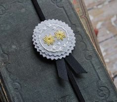 Felt Headband Hand Embroidered Pale Grey Wool with by lovemaude, $18.00