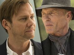 Jimmi Simpson as Willian and Ed Harris as The Man in Black in Westworld