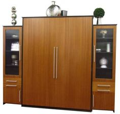 King size Scape Murphy Bed with African Mahogany / Natural finish face and Alder / Espresso finish surround