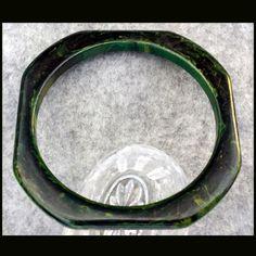 Richly Marbled Bakelite Bangle Bracelet Carved Octagon Shape