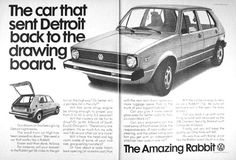 1976 VW Rabbit vintage ad. The car that sent Detroit back to the drawing board. The Amazing Rabbit. Features 38 mpg, 0 to 50 mph in 8.2 seconds, more cargo space than a Cadillac and better visibility than a Lincoln.