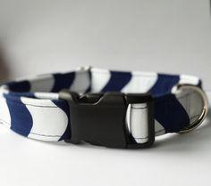 Blue and White  Dog Collar Handmade