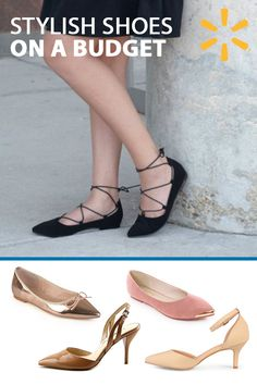 These stylish flat shoes feature smooth uppers and fabric knit trim.  Classic pointed toes with dainty bow accents and small block heels ...