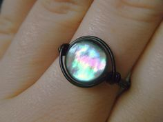Rainbow Mother of Pearl Wire Wrapped with Black Wire by JbellsGems, $12.00