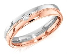 House of Williams 18ct Pink and White Gold Ladies 4mm Wedding Ring with Beaded Centre and Set with a Single 4pt Round Diamond