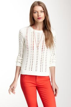 YES PLEASE > Long Sleeve Open Stitch Cable Sweater