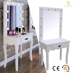 Delicieux White Vanity Makeup Dressing Table Set W/ LED Lighted Hollywood Mirror Wood  Desk