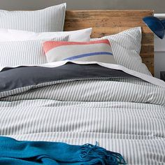west elm adds stylish sophistication to any modern bedroom with our selection of grey bedding. Find grey sheets and duvet covers and create a chic look. Striped Bedding, Striped Quilt, Ticking Stripe, Grey Bedding, Bedding Sets, West Elm, Ward Room, Modern Duvet Covers, Bedrooms